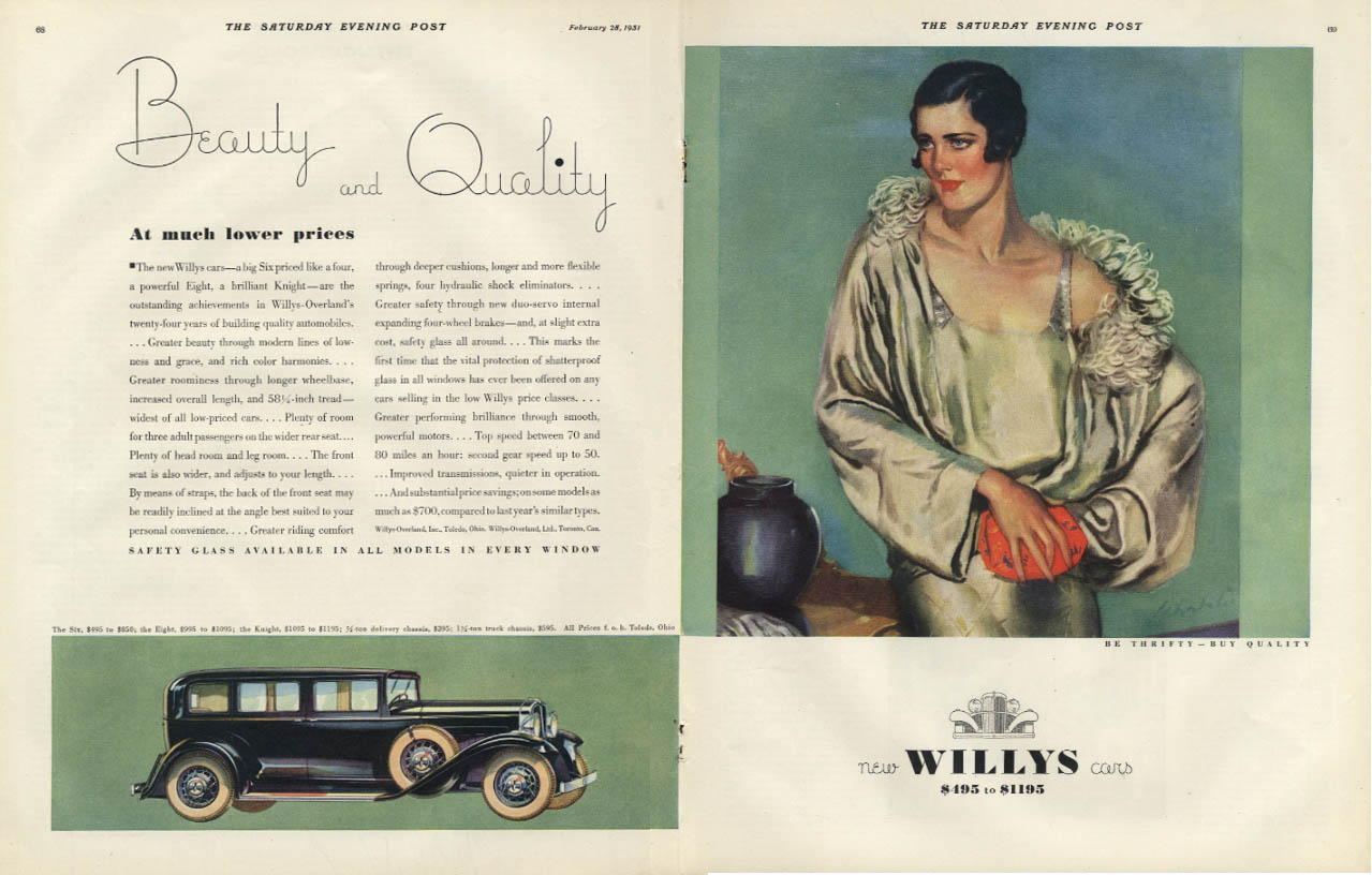 Beauty & Quality at much lower prices - Willys Cars $495 to $1185 ad 1931 SEP