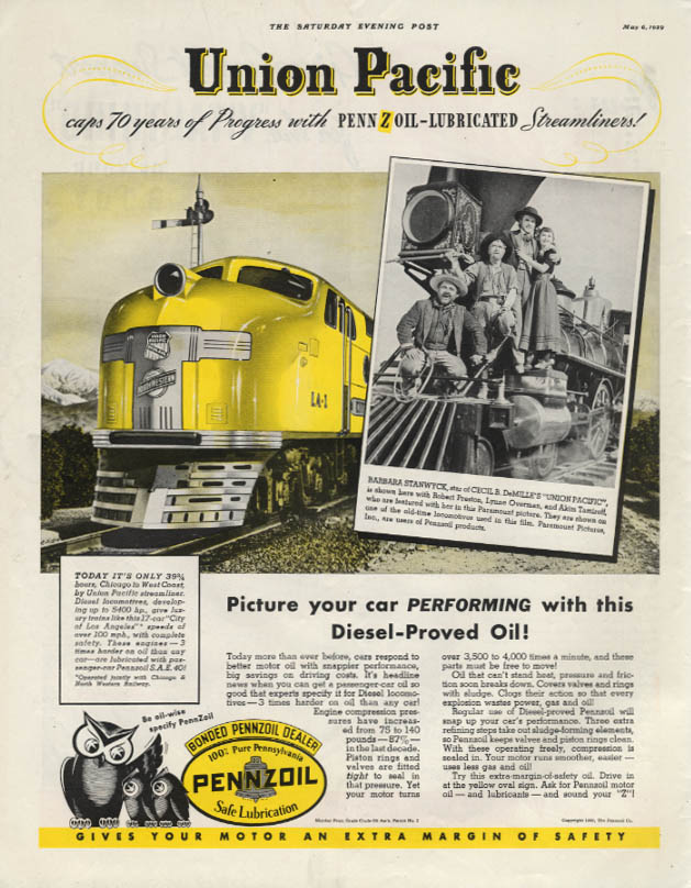 70 Years of Progress Union Pacific RR City of Los Angeles Pennzoil ad 1939 SEP