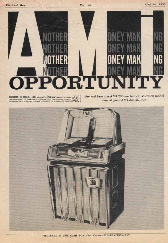 Another Moneymaking Opportunity AMI Model 200 Jukebox ad 1959