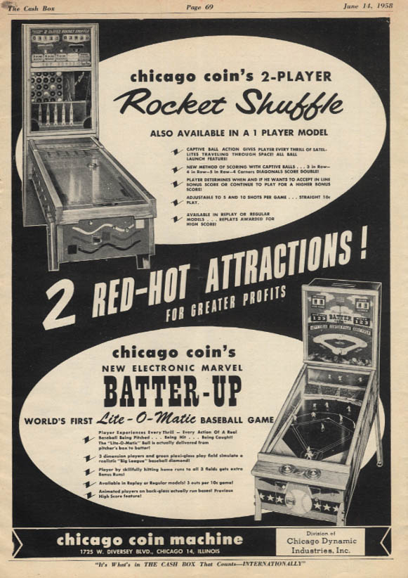 Chicago Coin Rocket Shuffle & Batter Up Arcade Games ad 1958
