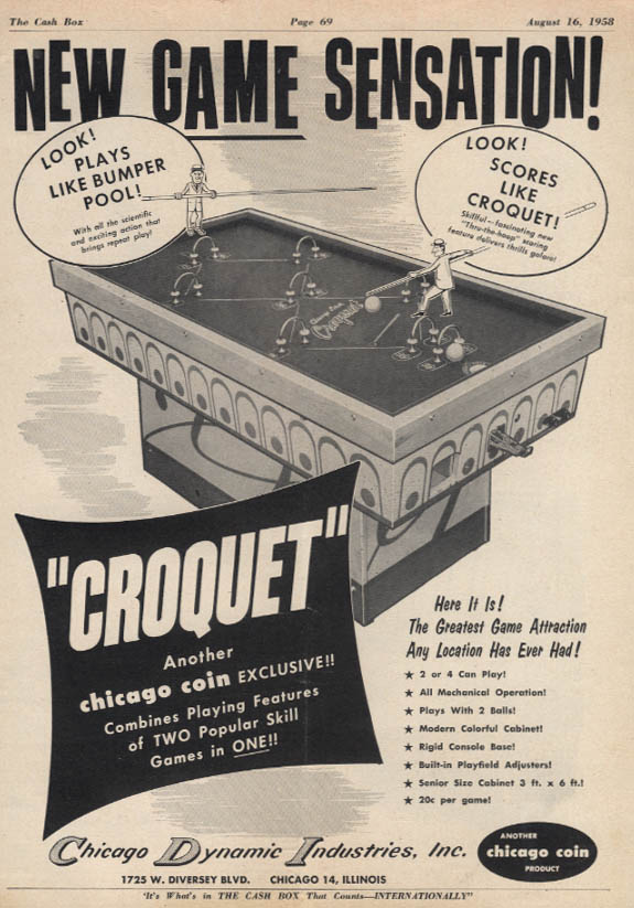 Chicago Coin Croquet arcade game plays like bumper pool ad 1958