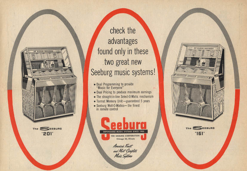 Check the advantages in these music systems Seeburg 201 & 161 Jukebox ad 1958