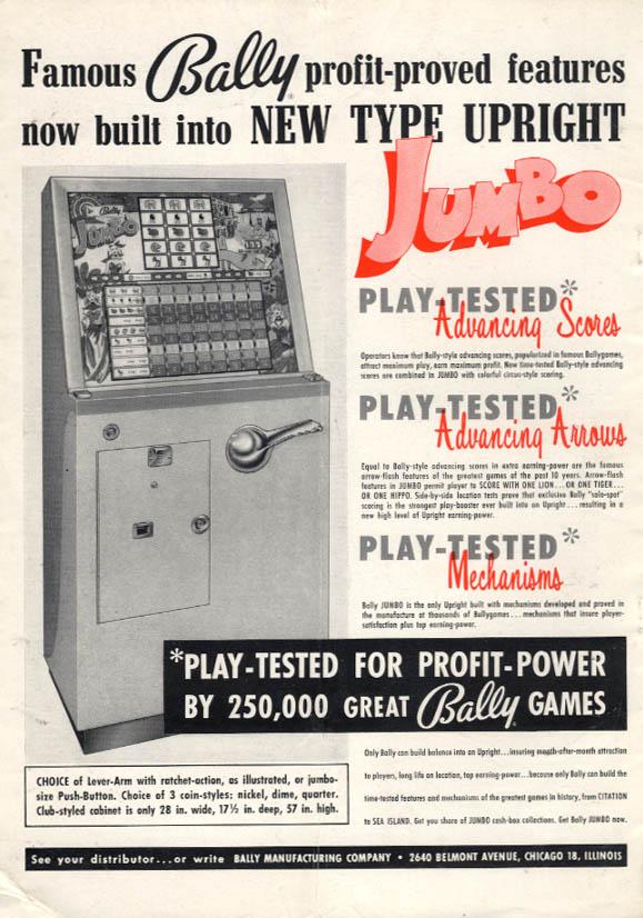 Bally Jumbo advancing scores & arrows arcade gambling game ad 1959