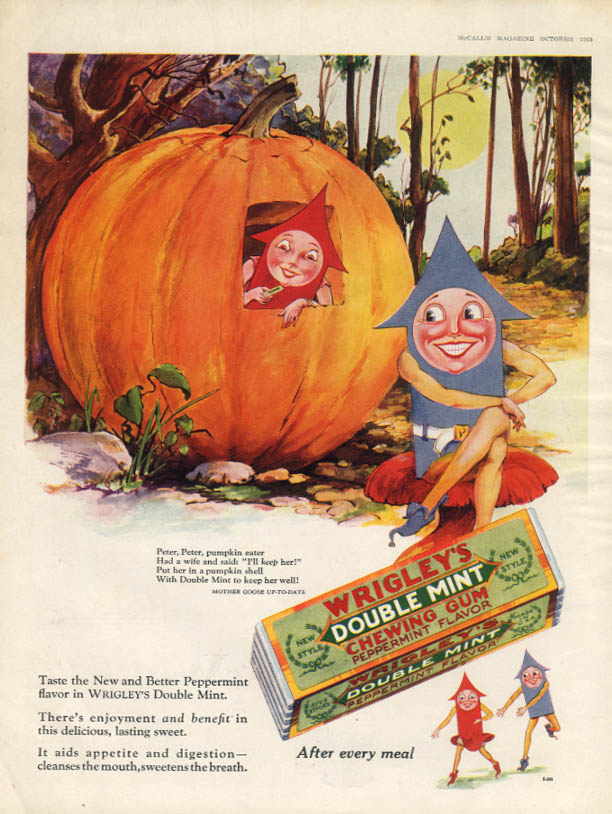 Image for Peter Peter Pumpkin Eater Wrigley's Double-Mint Gum ad 1928 Spearman Family McC