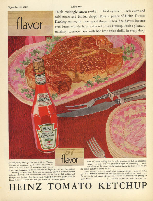 Image for Thick meltingly tender steaks fried oysters - Heinz Tomato Ketchup ad 1928 Lib