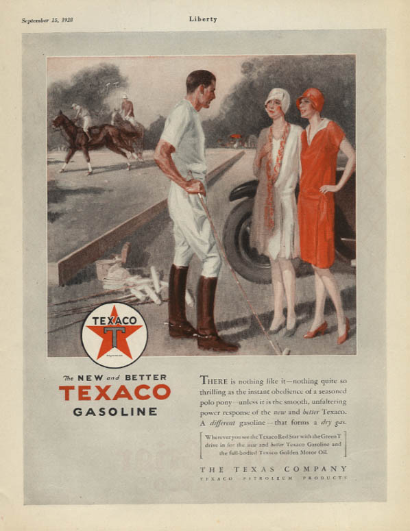 Image for New & better Texaco Gasoline ad 1928 pretty girls at the polo match Lib