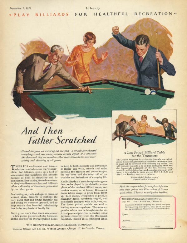 And then Father Scratched! Brunswick Billiard Tables ad 1928 Lib