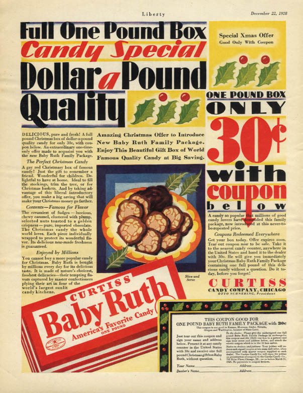 Image for Dollar-a-pound Quality only 30c with coupon Baby Ruth Candy ad 1928