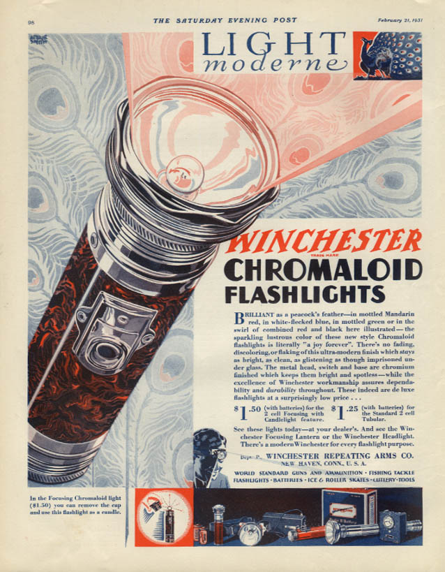 Light Moderne - Winchester Chromaloid Flashlights ad 1931 Lib