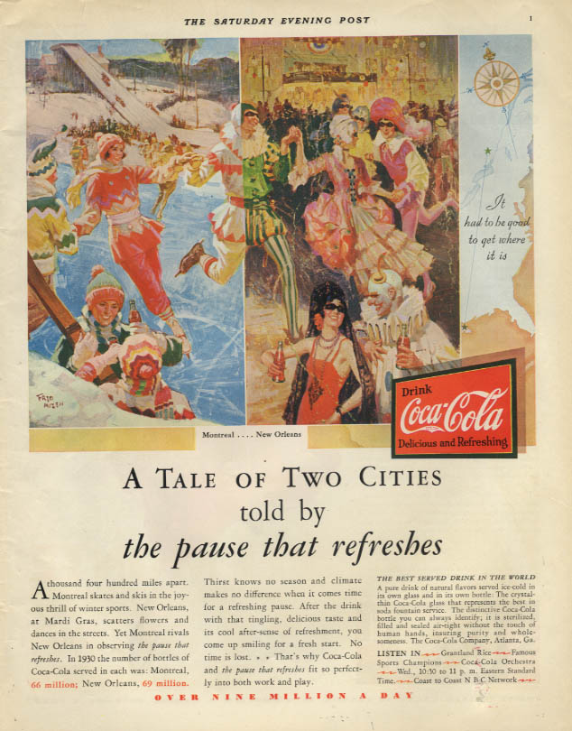 A Tale of Two Cities told by the pause that refreshes Coca-Cola ad 1931 SEP