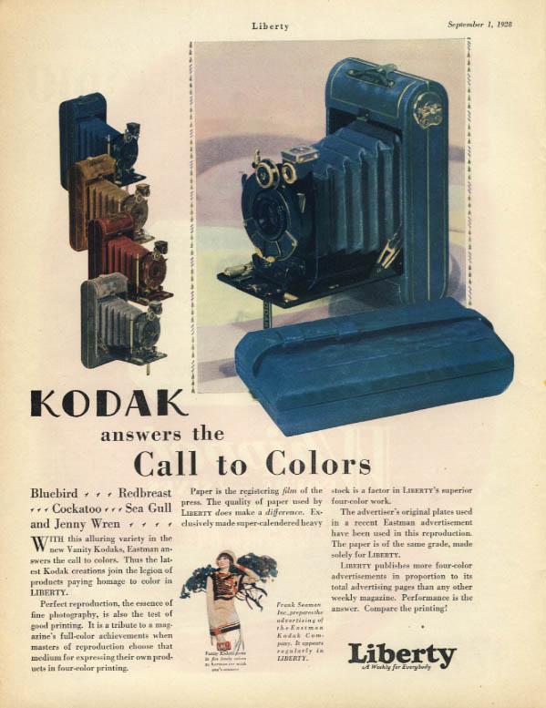 Kodak answers the Call to Colors ad 1928 Bluebird Redbreast Cocaktoo Sea Gull
