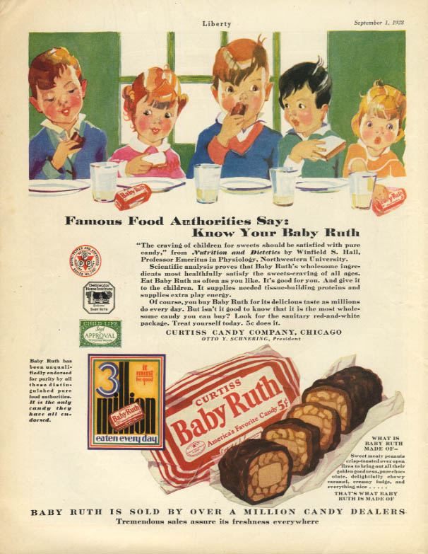 Image for Famous Food Authorities say Know Your Baby Ruth Candy ad 1928 Lib
