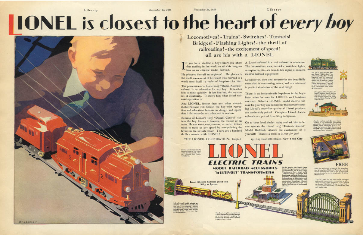 Closest to the heart of every boy Lionel Electric Trains ad 1928 Lib