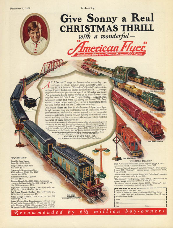 Give Sonny a Real Christmas Thrill - American Flyer Electric Trains ad 1928 Lib