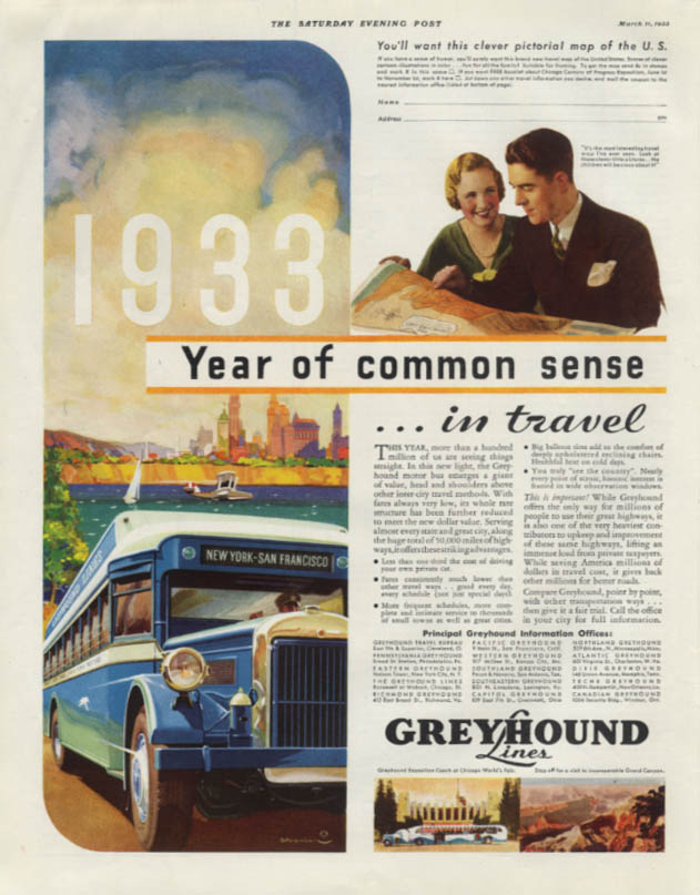 Year of common sense in travel Greyhound Bus ad 1933 SEP