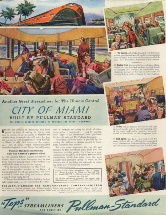 Illinois Central Railroad City of Miami Streamliner Pullman-Standard ad 1941 SEP