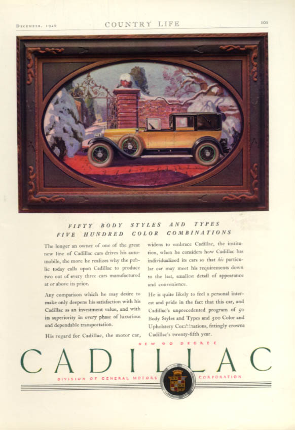 Fifty Body Styles & Types 500 Color Combinations - Cadillac Town Car ad 1927 CL