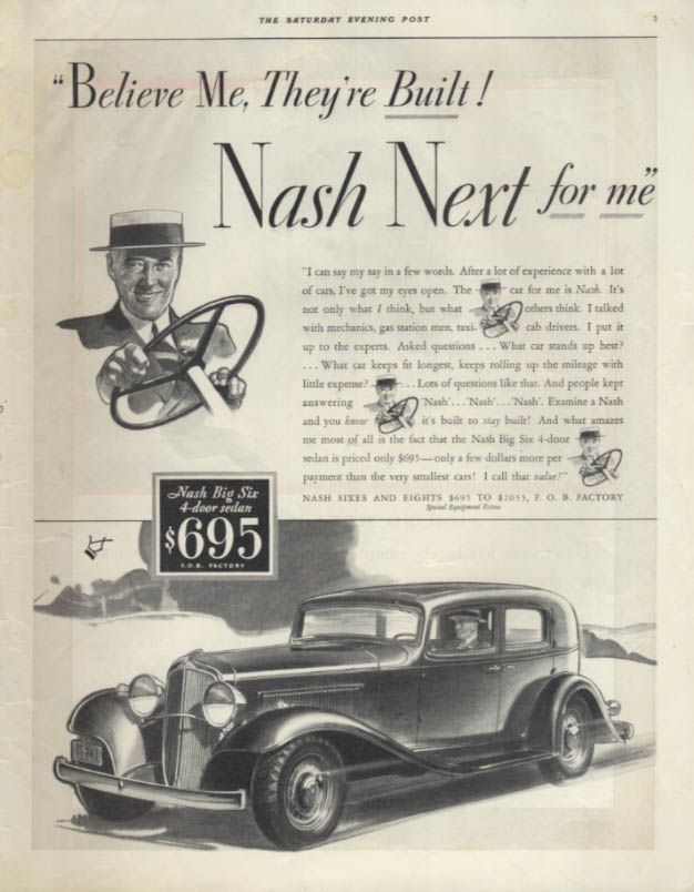 Believe Me, They're Built! Nash Big Six 4-door Sedan ad 1933 SEP