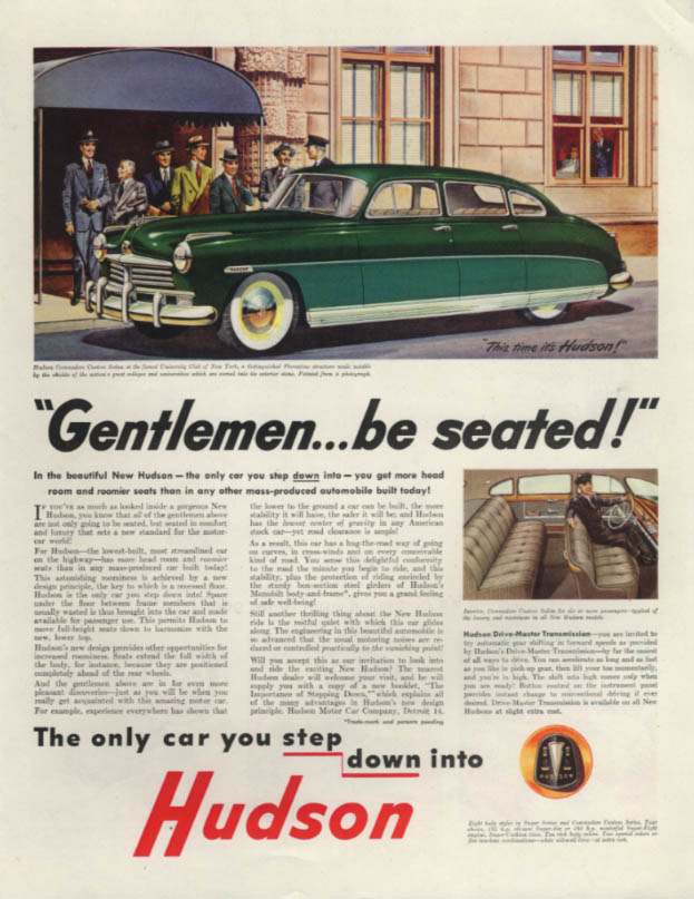 Gentlemen . . . be seated! Hudson at University Club of New York ad 1948 SEP