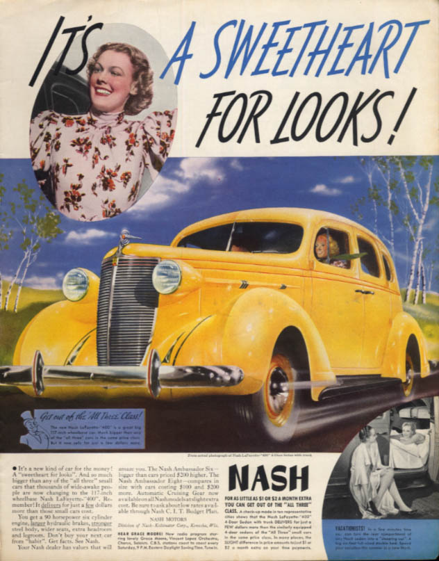It's a Sweetheart for Looks! Nash Lafayette 400 Sedan ad 1939 Col