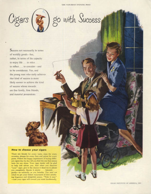 Cigars go with Success - Cigar Institute of America ad 1950 SEP