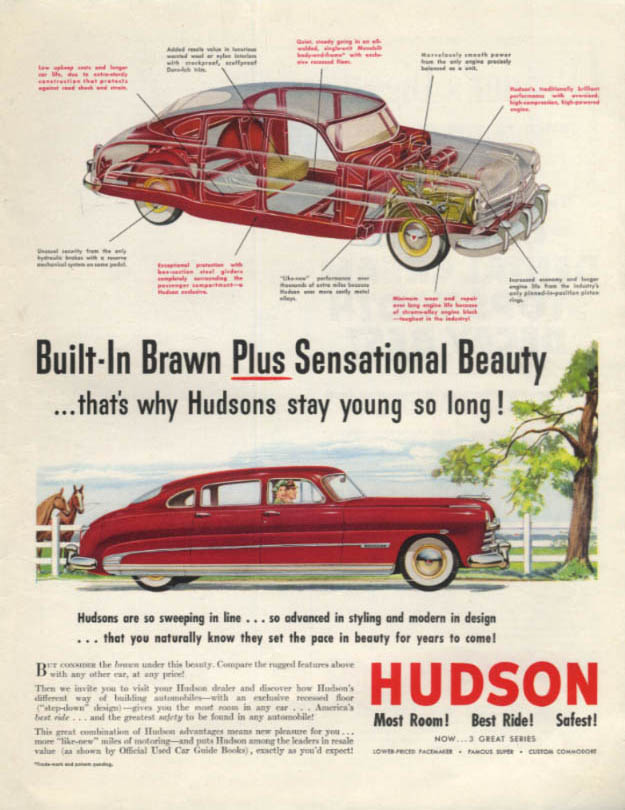 Built-In Brawn Plus Sensational Beauty - Hudson Commodore ad 1950 SEP