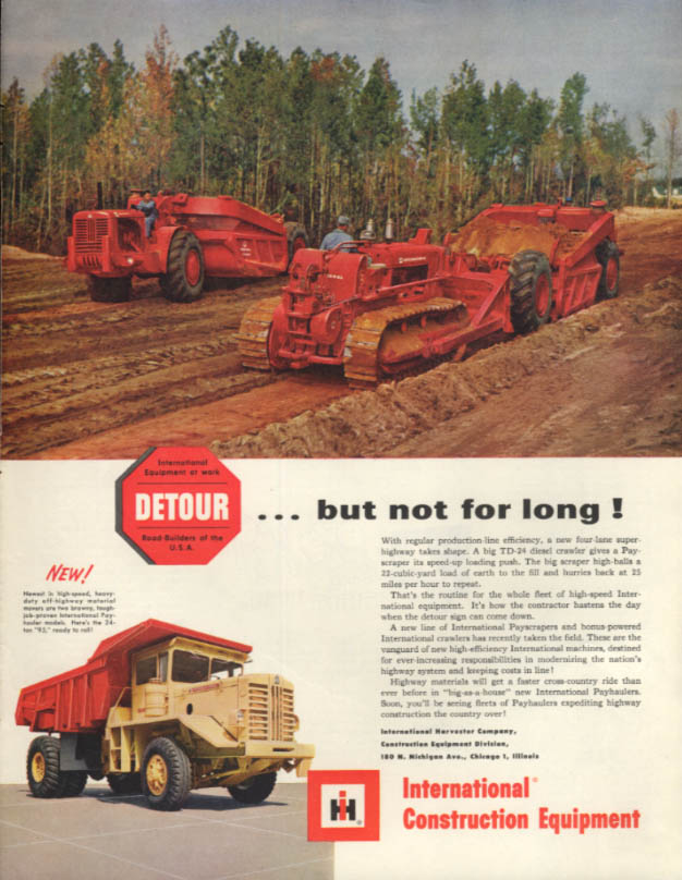 Detour but not for long International Construction Equipment tractor + ad 1956 P