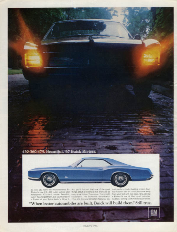 430-360-475. Beautiful. Buick Riviera ad 1967 H