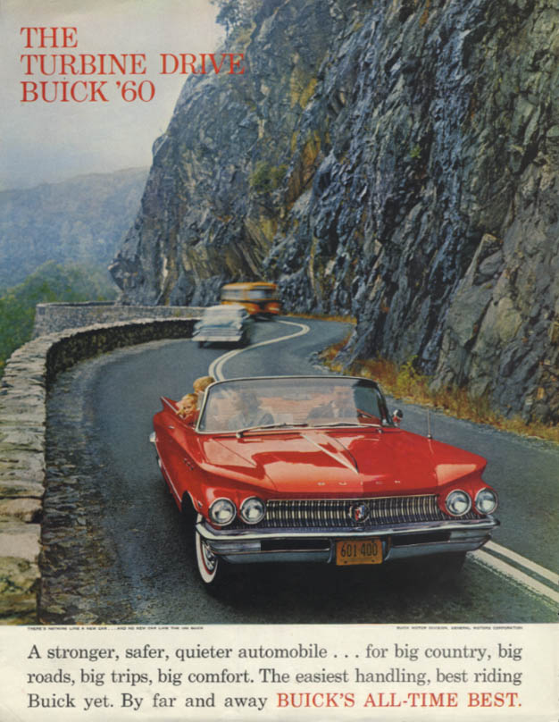 A stronger safer quieter automobile Buick Convertible ad 1960