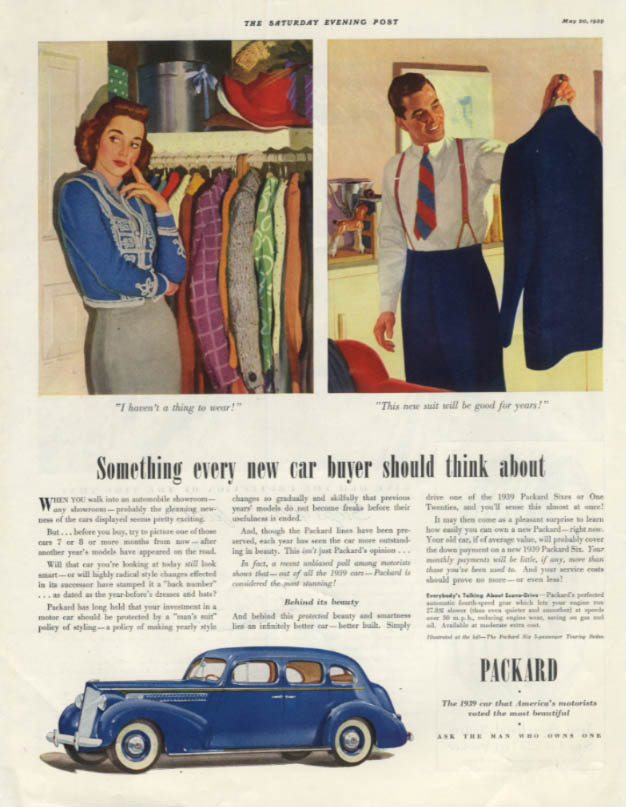 Something every new car buyer should think about Packard Six ad 1939 SEP