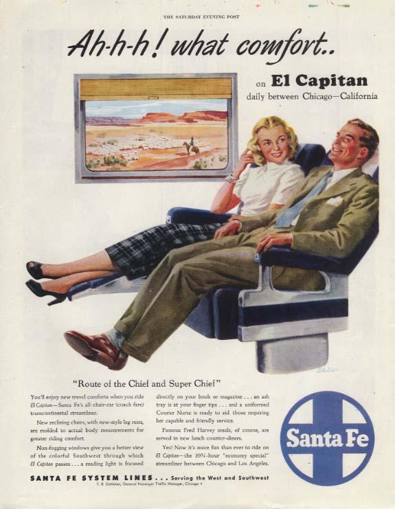 Ah-h-h! what comfort Santa Fe El Capitan railroad ad 1958 SEP