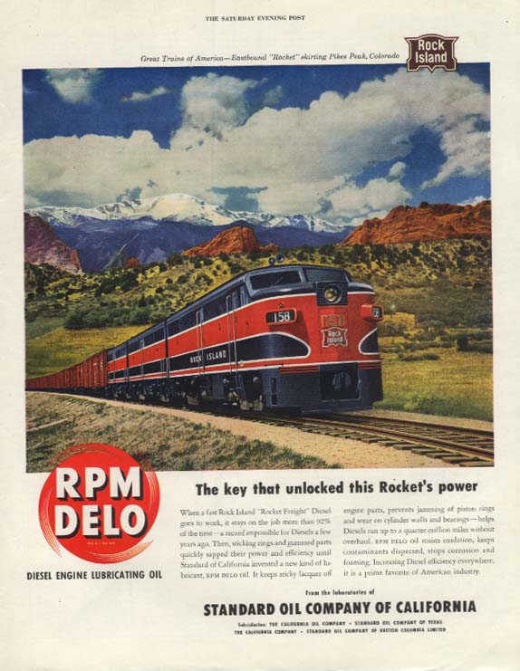 Rock Island Lines Rocket Freight Diesel RPM Delo ad 1950 SEP