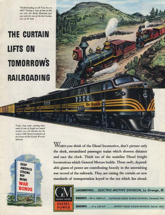 Denver & Rio Grande Railroad GM Diesel Locomotive ad 1944 LK