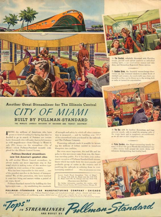 Illinois Central City of Miami train Pullman railroad ad 1941 L