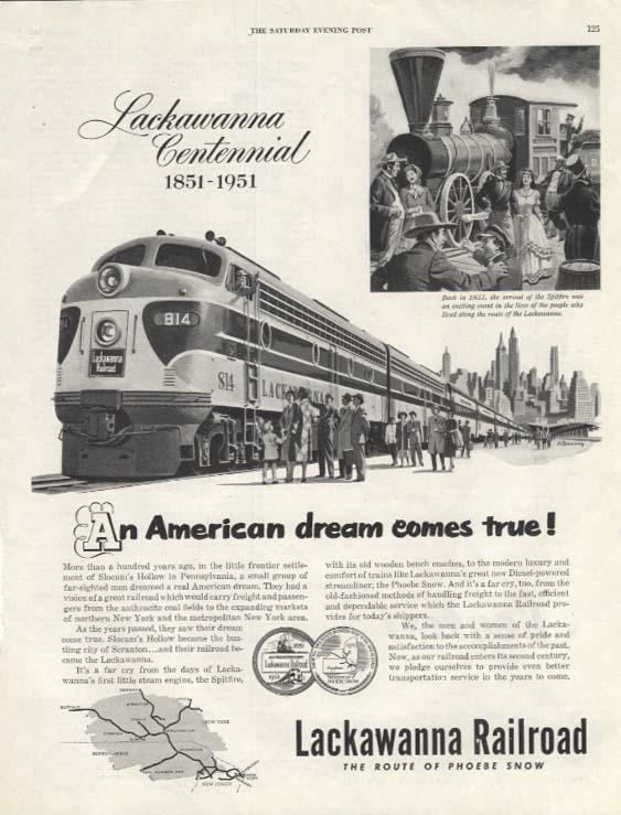 An American Dream comes true! Lackawanna RR Centennial 1851-1951 ad 1951 SEP