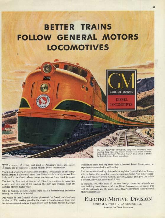Great Northern Railway Empire Builder GM EMD Diesel railroad ad 1948 H