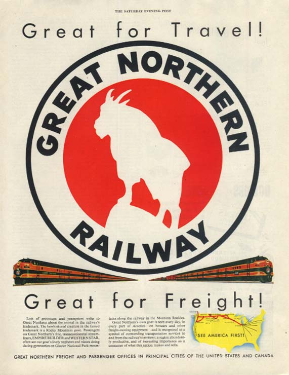Great Northern Railway Great for travel! Great for freight! Ad 1953 SEP