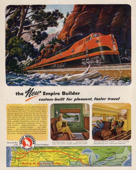 Great Northern Railway New Empire Builder streamliner ad 1946 F