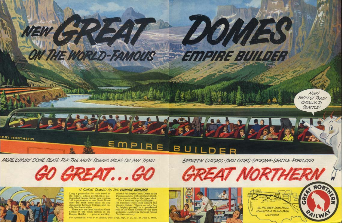 Great Domes on World-Famous Great Northern Railway Empire Builder ad 1955 SEP