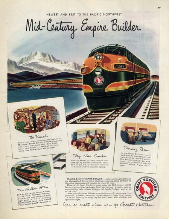 Great Northern Railway Mid-Century Empire Builder streamliner ad 1951 Col