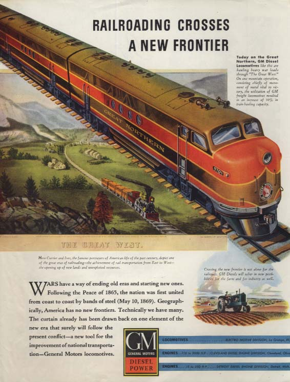 A New Frontier - Great Northern Railway GM Diesel Locomotive ad 1943 SEP