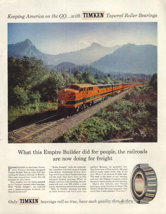 Great Northern Railway Empire Builder for Timken Bearings ad 1954 SEP