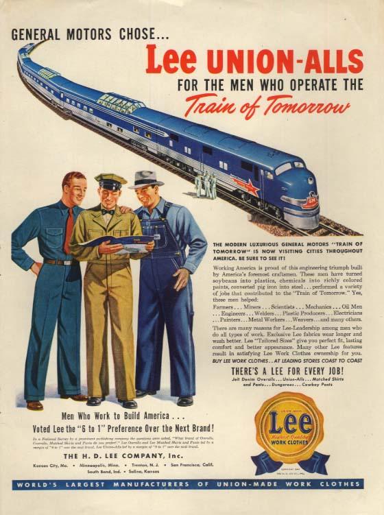 General Motors GM Train of Tomorrow for Lee Union-Alls overalls ad 1947 L