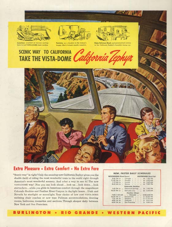 Burlington-Rio Grande-Western Pacific California Zephyr Vista-Dome RR ad 1949