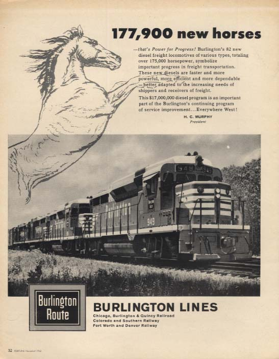 177,900 new horses for Burlington Route RR Lines ad 1962 F
