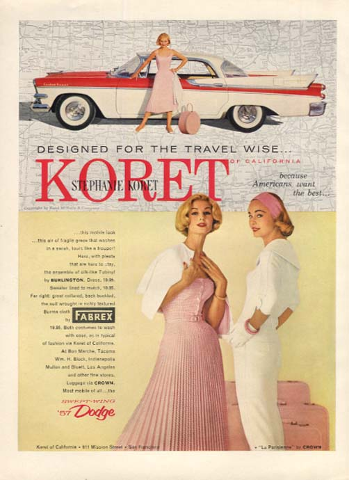 Designed for the Travel Wise Stephanie Koret Fashions Dodge Custom Royal ad 1957