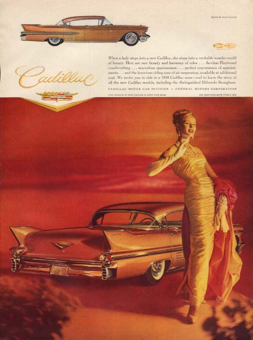 When a lady steps into a new Cadillac Sedan de Ville ad 1958