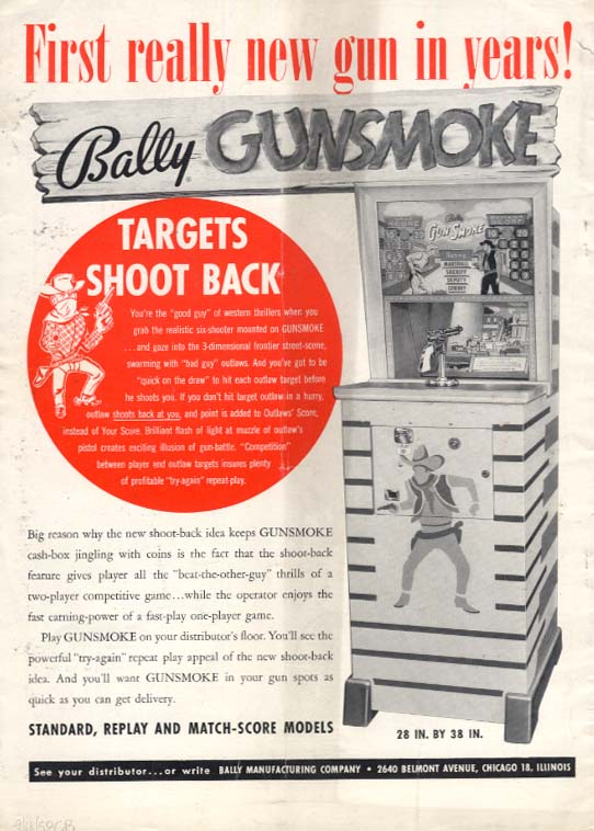 Bally Gunsmoke Arcade Shooting Game / United Baseball pinball ad 1959
