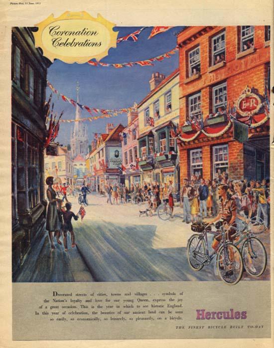 Queen Elizabeth II Coronation Celebrations Hercules Bicycle ad 1953