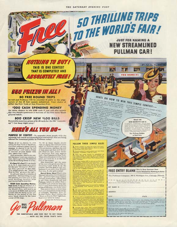 50 Thrilling Trips to the New York World's Fair Name a Pullman Car ad 1939